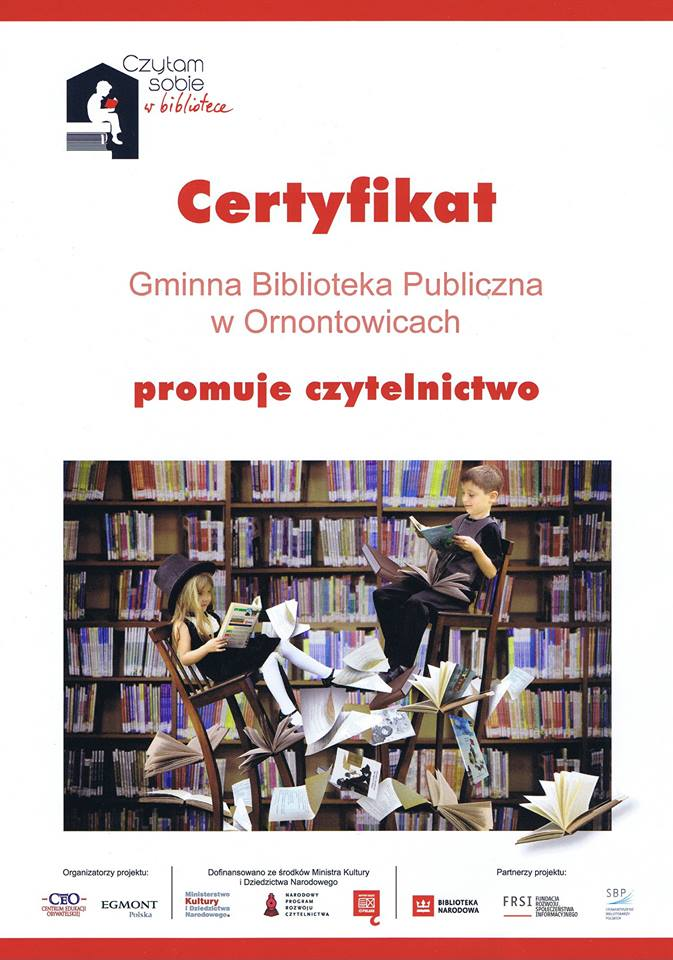 Certyfikat Biblioteka promuje czytelnictwo