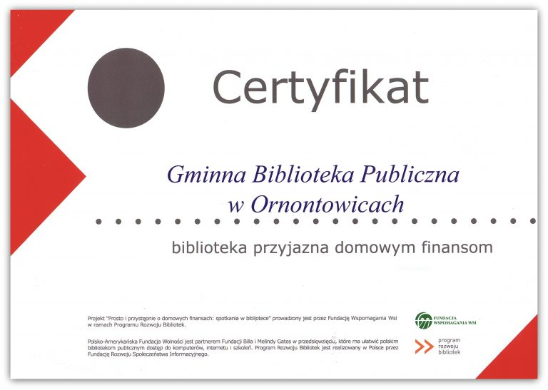 Certyfikat Biblioteka przyjazna domowym finansom