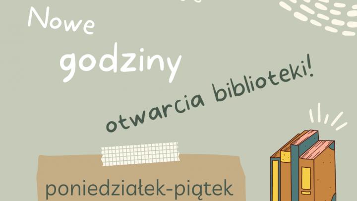 Grafika godziny otwarcia biblioteki od września 2021 roku